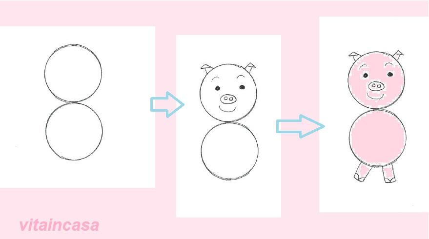 Disegni da un soldo il maialino rosa vitaincasa for Maialino disegno per bambini