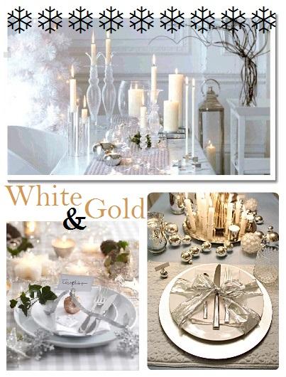 Idee tavola di Natale bianco e oro