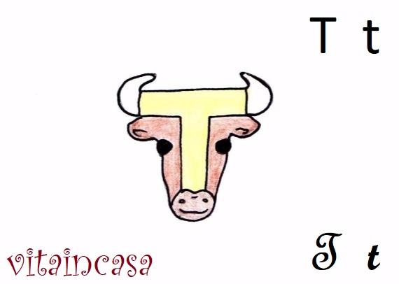 Lettere animate T di Toro disegno toro