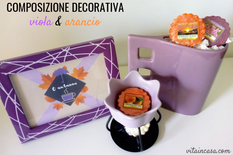 composizione decorativa viola e arancio by vitaincasa