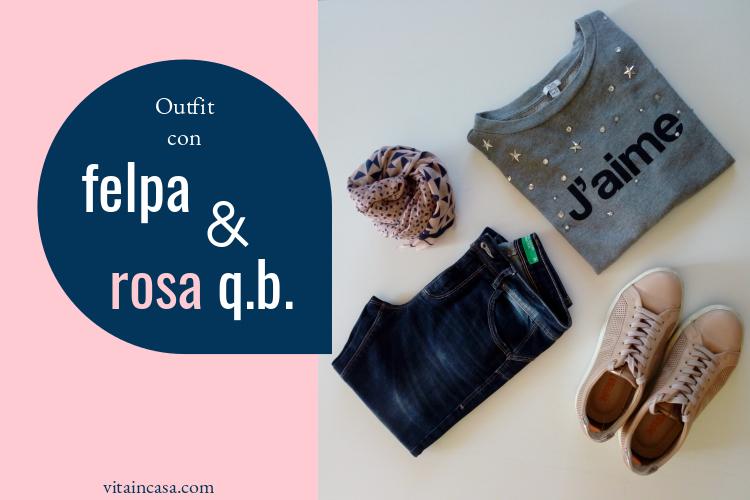 Outfit felpa e rosa by vitaincasacom