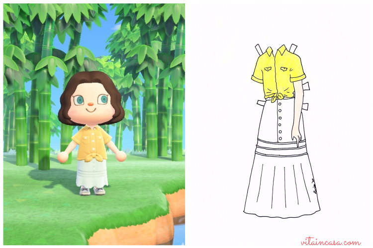 Animal crossing inspired outfit_completo giallo di Napoli e bianco by vitaincasa