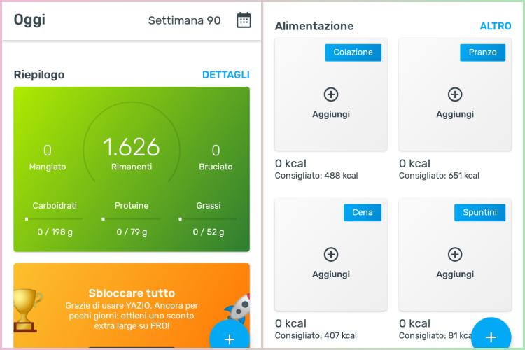 Yazio pro e contro app contacalorie by vitaincasa